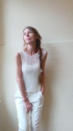 White cotton mix summer tank / vest by ileaiye on Etsy,