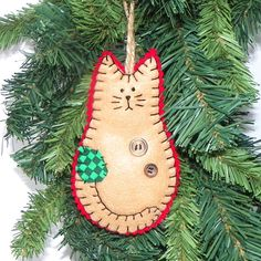 Felt Cat Christmas Ornament by MerrilyMadeChristmas on Etsy