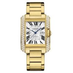Cartier Tank Anglaise Medium Wt100006 18K Yellow Gold Watch