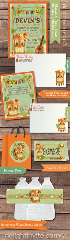 This awesome hand-made retro Tiki Hawaiian Luau theme party set is simply stunning. The invites and thank you cards are professionally printed on beautiful metallic card stocks, artfully hand-mounted on wonderful 120 lb. metallic orange card stock.  The matching tiki Hawaiian favor tags, water bottle labels and food tent cards are truly spectacular in person.