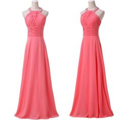 ! Grace Karin Real sample 2014 Watermelon Halter Ball Formal Gowns Evening wedding Long Party Prom Dresses CL6028 - BRIDESMAID DRESSES BRIDAL GOWNS PROM - Alternative Measures -