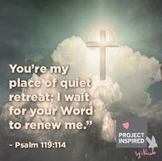 Psalm 119:114 You're my place of quiet retreat; I wait for your Word to renew me.
