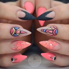 Coral, Blue, Yellow, & Black Stiletto Nails With Rhinestones and 3-D Accent Nail