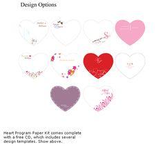 DIY Heart Program Fan Paper Ki - Wedding Hand Fans - Destination Wedding Favors