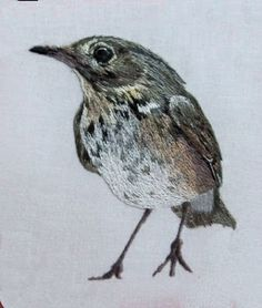 bird embroidered with long and short stitch
