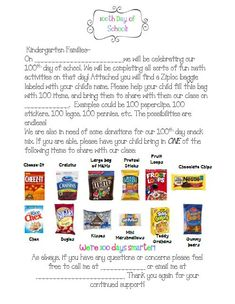 100th day Parent Letter