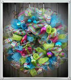 Door Decoration Beautiful Christmas Candy Colored Door Wreath Deco Mesh Holiday Decor