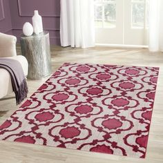 Modern Moroccan Trellis Pink/Red Soft Area Rug (3'3 x 5')