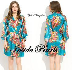 Satin floral bride robe