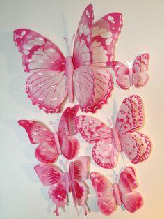 7x 3D Butterflies Double Wings Wall Sticker Flowe Kids Nursery Pink Purple Blue