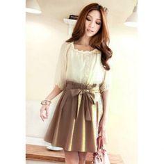 Elegant Elastic Waist Fake Twinset Splice Design Half Sleeve Slimming Women's Dress, AS THE PICTURE, M in Casual Dresses   DressLily.com