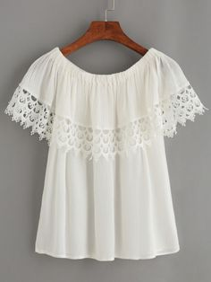 White Lace Trimmed Off The Shoulder Top