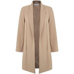 Miss Selfridge Camel Duster Coat ($90) ❤ liked on Polyvore featuring outerwear, coats, brown, women, beige coat, miss selfridge, brown coat, brown duster coat and camel coat