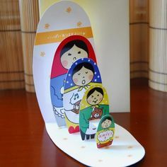 Matryoshka Doll Pop-Up card. the dolls pop up graduated by size . Art For Kids, Crafts For Kids, Pop Up Art, Paper Pop, Shaped Cards, Matryoshka Doll, 3d Cards, Homemade Cards, Paper Dolls