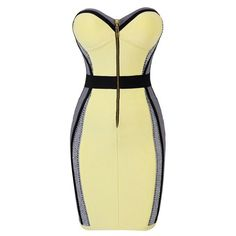 Slim Fit Strapless Color Splicing Zipper Up Women's Bandage Dress, AS THE PICTURE, S in Bandage Dresses | DressLily.com