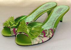 Tribeca Juliet Green Satin Slides #http://www.shoeniverse.info/