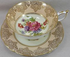 FK18 *STUNNING* PARAGON PEACH AND GOLD BANDING WITH FLORALS TEA CUP AND SAUCER
