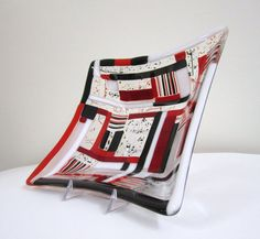 Quizzical Contemporary Fused Glass Bowl by JanuaryMayDesigns, $40.00