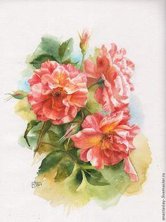 Купить Розы - рыжий, розы, цветы, картина с цветами, картина в подарок, акварель, акварель