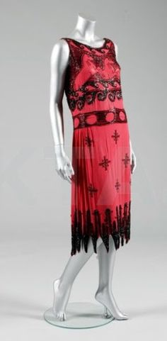 1926 Madeleine Vionnet - by Madeleine Vionnet et Cie for Wanamakers, American - Scarlet crêpe romain, adorned with black bugle and seed beads, 'AuxChevaux' Dress - Kerry Taylor Auctions