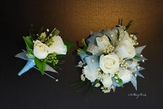 Silver and Light Blue Wrist Corsage & Boutonniere | by Amrose Flowers