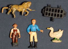 5 Vintage Toys Metal Horses Goose Farmer Grill Bully Figurine France W. Germany