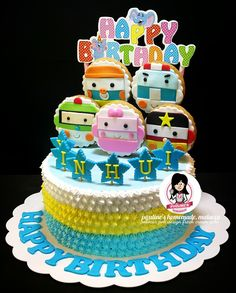 Robocar Poli @ Fondant Cookies @ Fresh Cream Cake Robocar Poli, Fondant Cookies, Fresh Cream, Cute Cakes, Cream Cake, Tarts, Ideas Para, Cake Decorating, Projects To Try