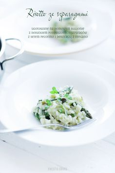 Risotto ze szparagami i serem pecorino Pescatarian Recipes, My Cookbook, Asparagus, Risotto, Potato Salad, Main Dishes, Food Photography, Vegetarian, Vegetables
