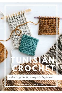 Learn how to Tunisian crochet step-by-step in this brief, non-intimidating, beginner-friendly video tutorial. All you need is a normal crochet hook! Plaid Au Crochet, Tunisian Crochet Blanket, Tunisian Crochet Patterns, Crochet Geek, Easy Crochet, Crochet Hooks, Crochet Baby, Baby Turban, Turban Hut