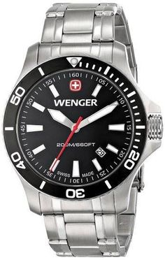 NEW WENGER SWISS SEA FORCE 3H DISPLAY QUARTZ SILVER WATCH  0641.105 MSRP   275  WENGER a06c1321146
