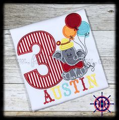 Circus Elephant Birthday Applique Shirt, Circus Birthday Shirt, Elephant Birthday Shirt by FDLEmbroidery on Etsy
