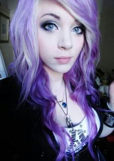 white and purple hair--did this the other day. It actually looks like your hair is under a blacklight no matter what light you're in. Awesomeness.