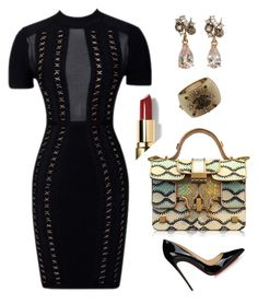 """LBD Contest"" by arta13 on Polyvore featuring Giancarlo Petriglia, Federica Rettore, Christian Louboutin, Chanel and Bobbi Brown Cosmetics"