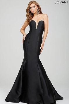 Gorgeous black strapless mermaid dress features a deep V sheer neckline, a dramatic train and a hidden zipper in the back. Available in 11 other colors.