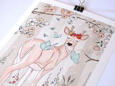 Art Print Female Deer by Micush on Etsy