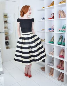 stripe midi skirt with red shoes and bardot top