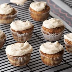 These Cinnamon Roll Cupcakes are filled with brown sugar, cinnamon, and pecans! More cupcake recipes: http://www.bhg.com/recipes/desserts/cupcakes/our-best-cupcake-recipes/?socsrc=bhgpin090213cinnamoncupcakes=16