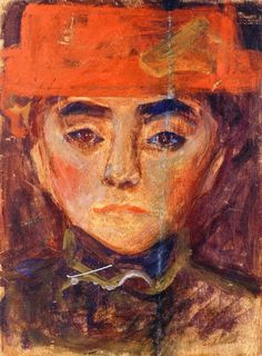 Edvard Munch (Norwegian 1863–1944) [Expressionism, Symbolism] Woman with Red Hat, 1893-1894.