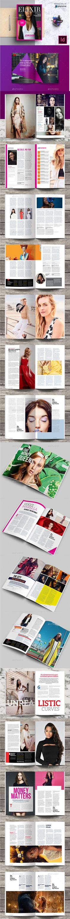 Elixir Fashion Magazine Indesign Template by evolysdigital Elixir Fashion Magazine Indesign Design Template / Layout General Description Lifestyle magazines are more than just about a spl