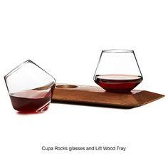 CUPA GLASSES & WOOD HOLDER | handblown glass, tumblers | UncommonGoods