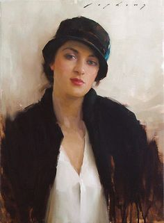 """""""The Feather Hat"""" - Jeremy T. Lipking (b. 1975), oil on canvas {contemporary figurative artist female head hat woman face portrait painting drips}  lipking.com"""