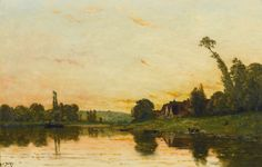 HIPPOLYTE-CAMILLE DELPY FRENCH 1842 - 1910 SUNSET AT PORTEJOIE