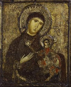 Virgin and Child of the Passion. Crusader School, possibly Lusignan Kingdom of Cyprus 14th century with later restorations. Tempera on gesso and wood. Inscriptions: 'Mother of God', 'Jesus Christ', 'Archangel Gabriel', 'Archangel Michael'