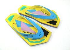 Vintage Neet Feet Geometric 1980s Flip Flop Sandals by kokorokoko /// www.art-by-ken.com