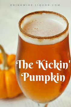 Nadire Atas on Exquisite Cocktails The Kickin' Pumpkin is a cocktail perfect for the beer savvy crowd. Buffalo Trace bourbon, pumpkin beer and unfiltered cider, leads to a delicious fall cocktail great for Halloween or Thanksgiving. Halloween Cocktails, Fall Cocktails, Whiskey Cocktails, Cocktail Drinks, Cocktail Recipes, Fall Drinks Alcohol, Cocktail Maker, Signature Cocktail, Mixed Drinks
