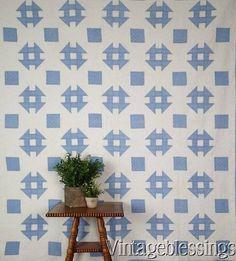 "Master Quilting ANTIQUE Blue & White Churndash QUILT Farmhouse Beauty 77x66"" www.Vintageblessings.com"