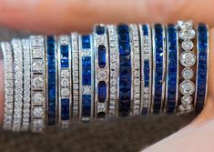 White gold, diamond, platinum and sapphire bands