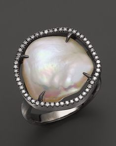 Di Massima Blackened Sterling Silver, Cultured Freshwater Pearl & Diamond Ring, 13-15mm