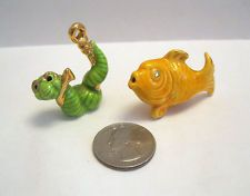 Arcadia Mini YELLOW FISH & GREEN WORM Salt & Pepper Shakers Miniature