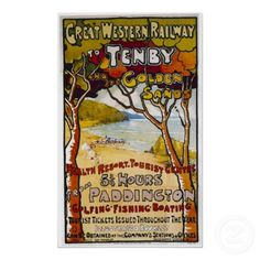 Shop Vintage Travel Poster, Tenby, Great Western Railwa Poster created by yesterdaysgirl. Sand For Sale, Pembrokeshire Coast, Railway Posters, Great Western, Make Your Own Poster, Vintage Travel Posters, Modern Artwork, Custom Posters, Westerns
